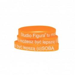 pomarańczowa gumowa bransoletka damsko - męska z logo Studio Figura gadżet