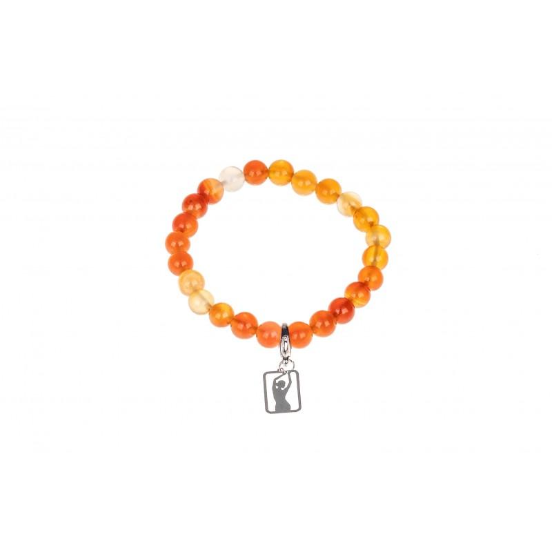 Pomarańczowa bransoletka z koralikami damsko-męska logo studio figura - gadżet
